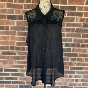 Torrid black lace sheer sleeveless top